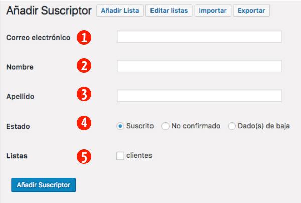 Openmailer - añadir suscriptor