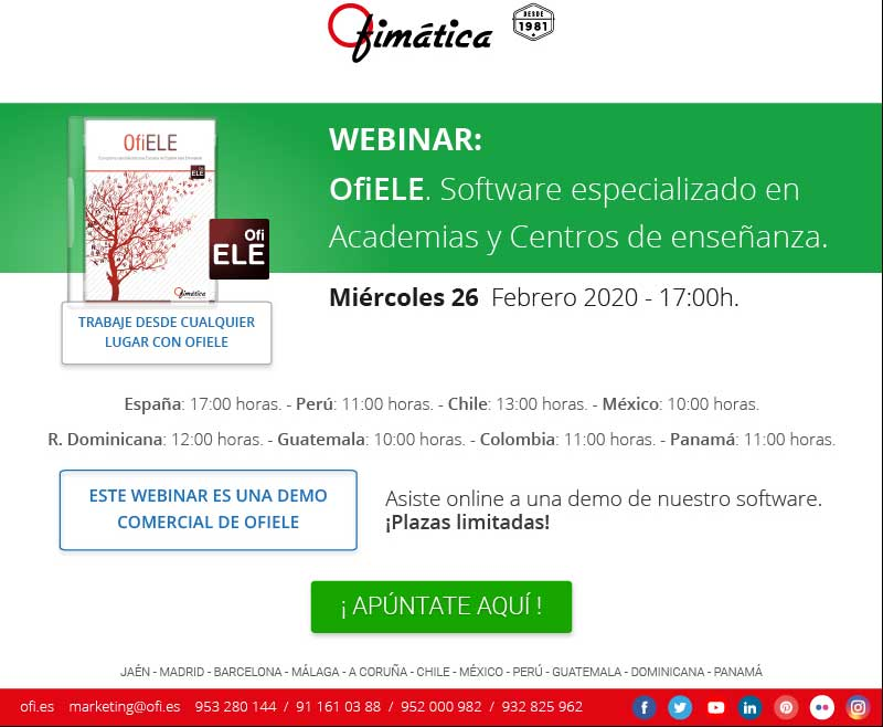 webinar Ofimatica para academias