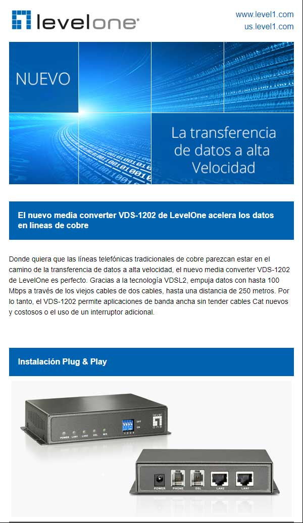 Nuevo media converter VDS-1202 LevelOne